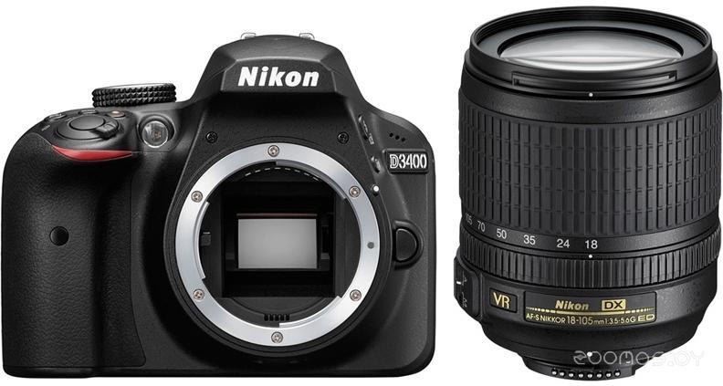 Цифровая фотокамера NIKON D3400 Kit 18-105 mm (Black)