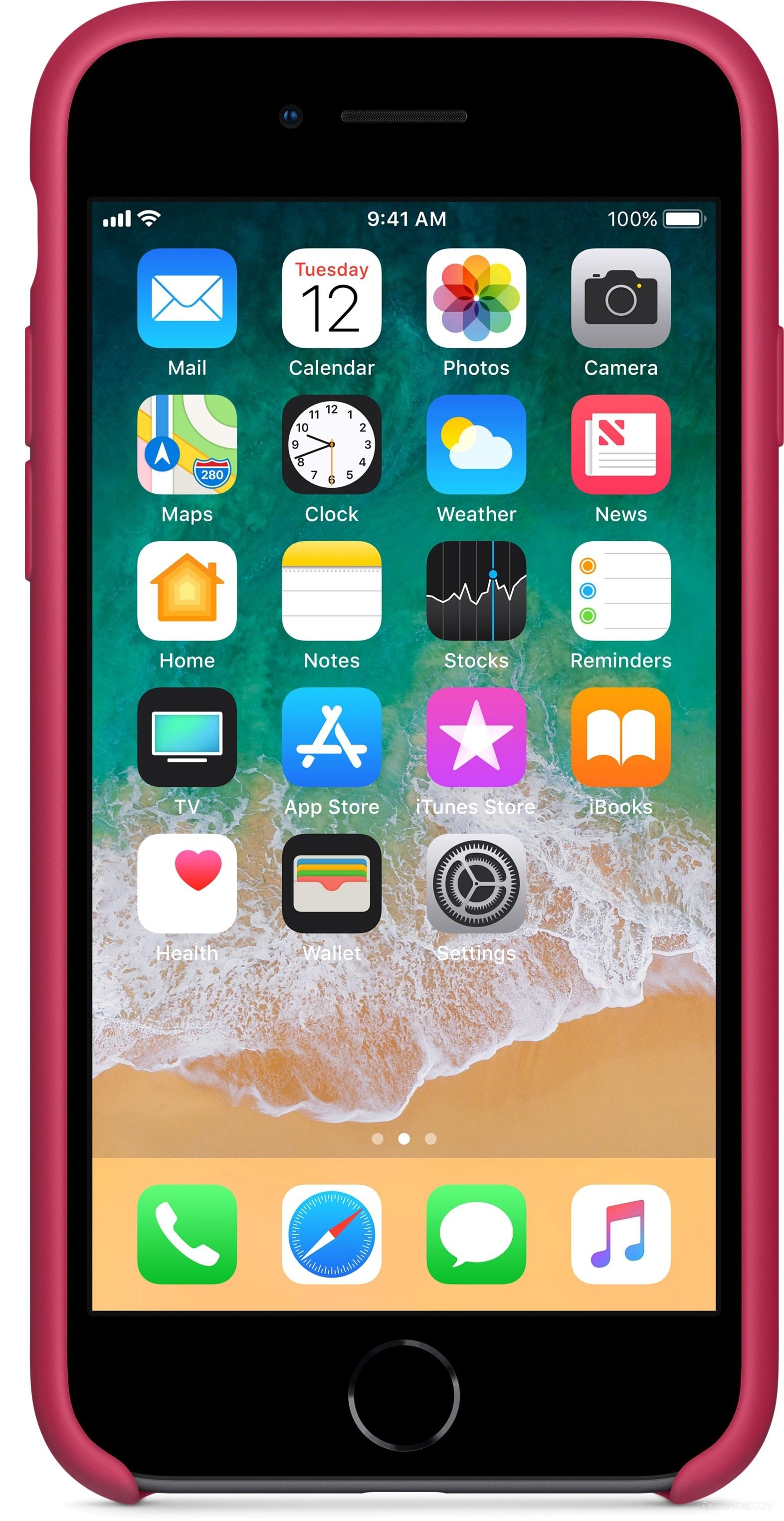 Чехол Apple Silicone Case для iPhone 8 / 7 Rose Red