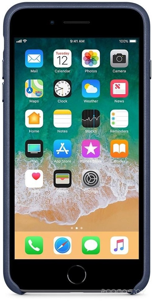 Чехол Apple Leather Case для iPhone 8 Plus / 7 Plus Midnight Blue