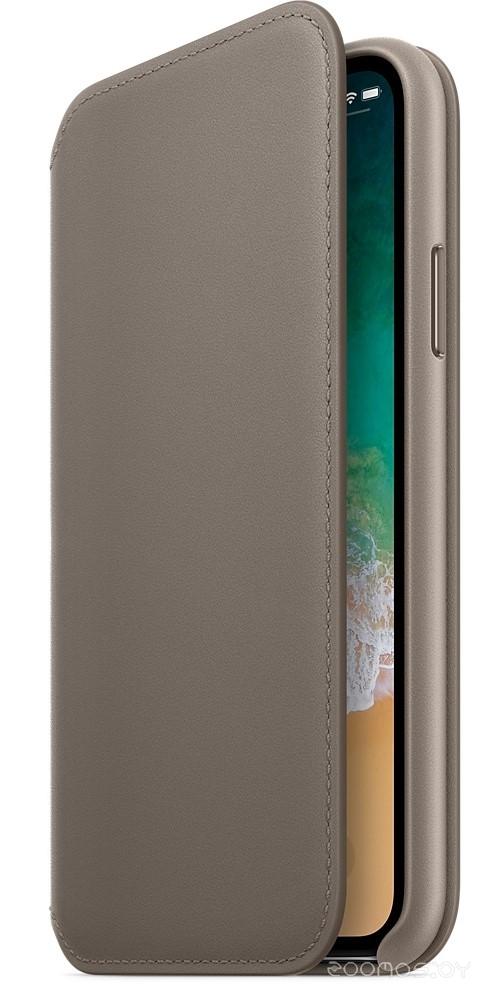Чехол Apple Leather Folio для iPhone X Taupe