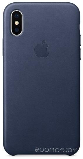 Чехол Apple Leather Case для iPhone X Midnight Blue