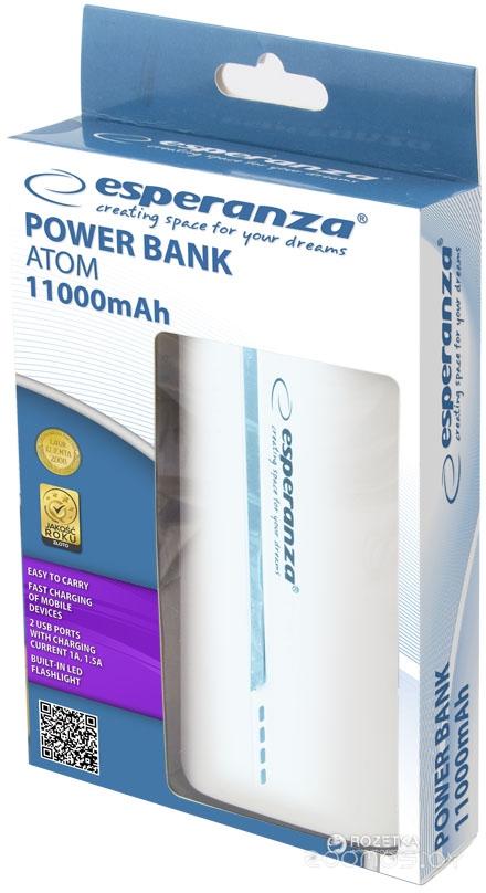Портативное зарядное устройство Esperanza EMP107WB (White-Blue)