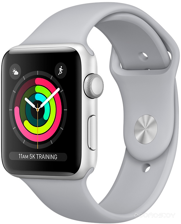 Apple Watch Series 3 42mm Aluminum Case with Sport Band (Silver with Fog)