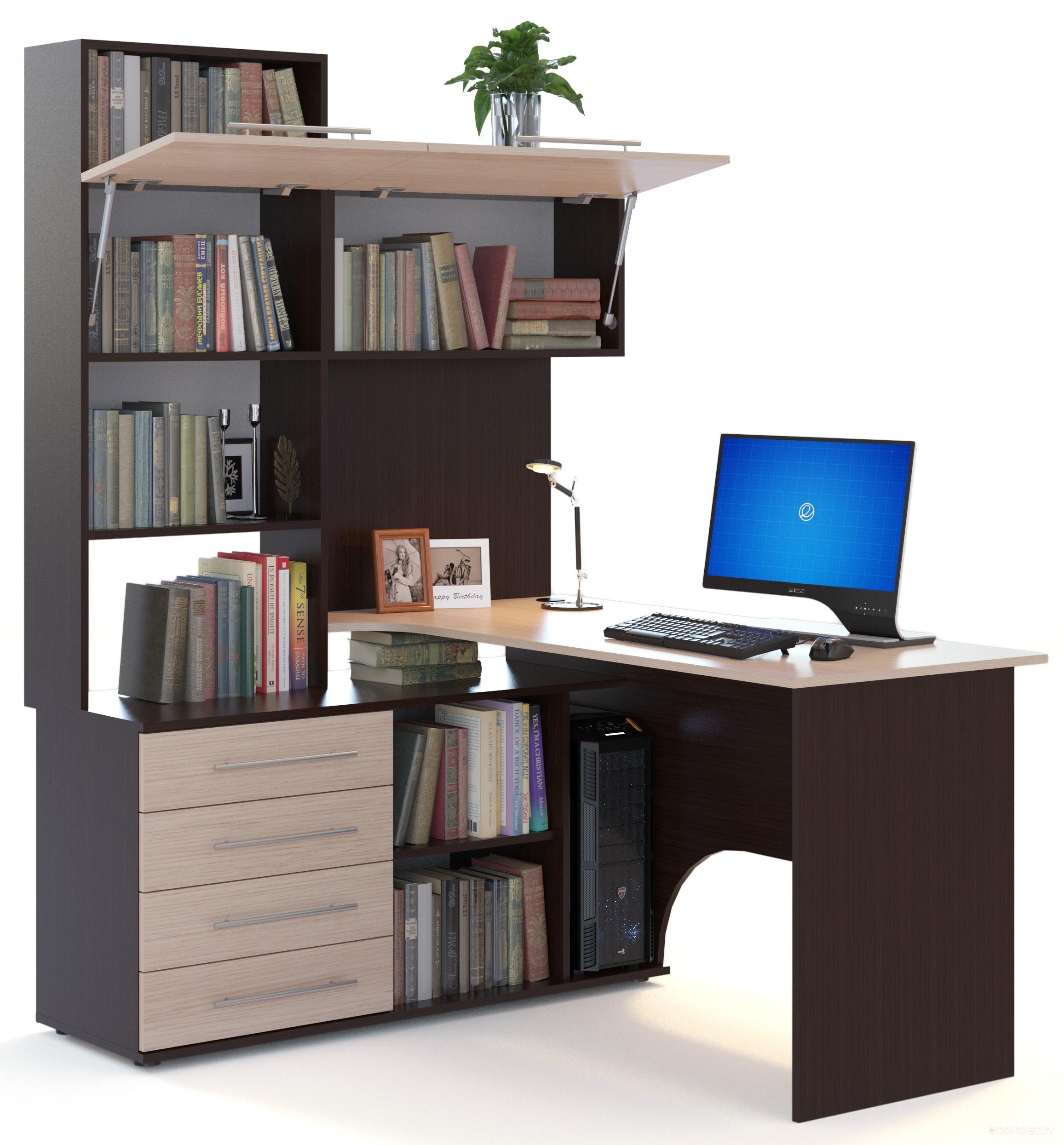 Компьютерный стол Сокол КСТ-14 (левый, венге/беленый дуб)