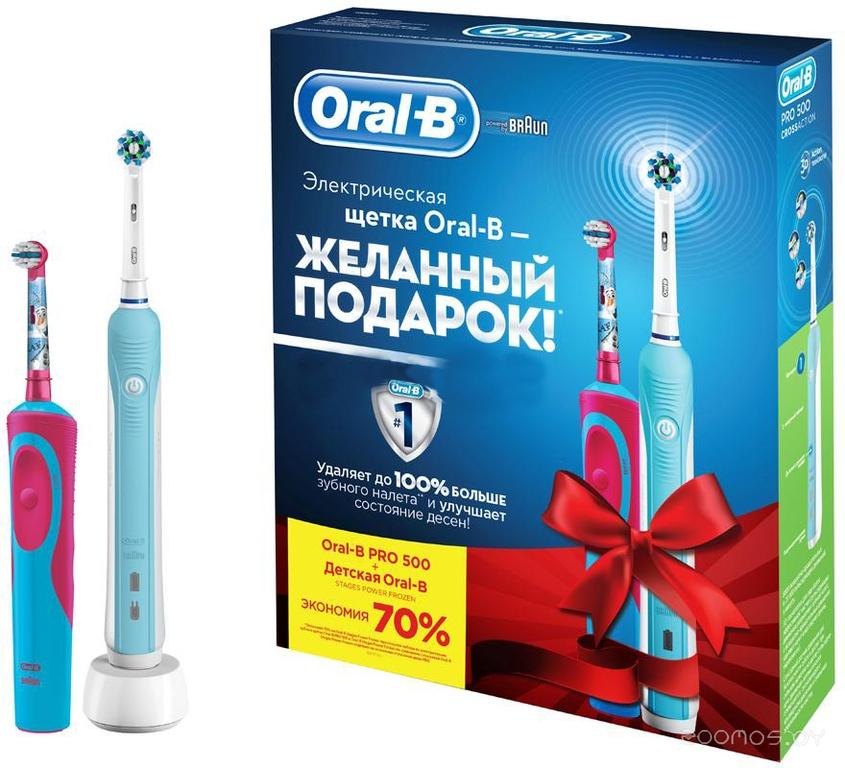 Электрическая зубная щетка Braun Oral-B Pro 500/D16.513U + Stages Power Frozen D12.513K