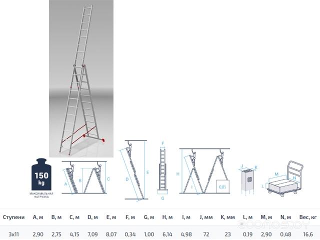 Лестница-трансформер PRO Startul ST9942-11 3x11 ступеней