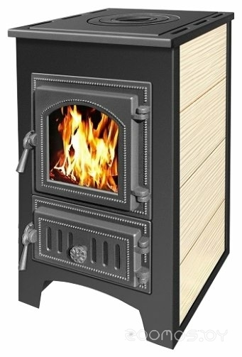 Свободностоящая печь-камин Везувий ПК-01(270) 9 кВт (с плитой, бежевый)