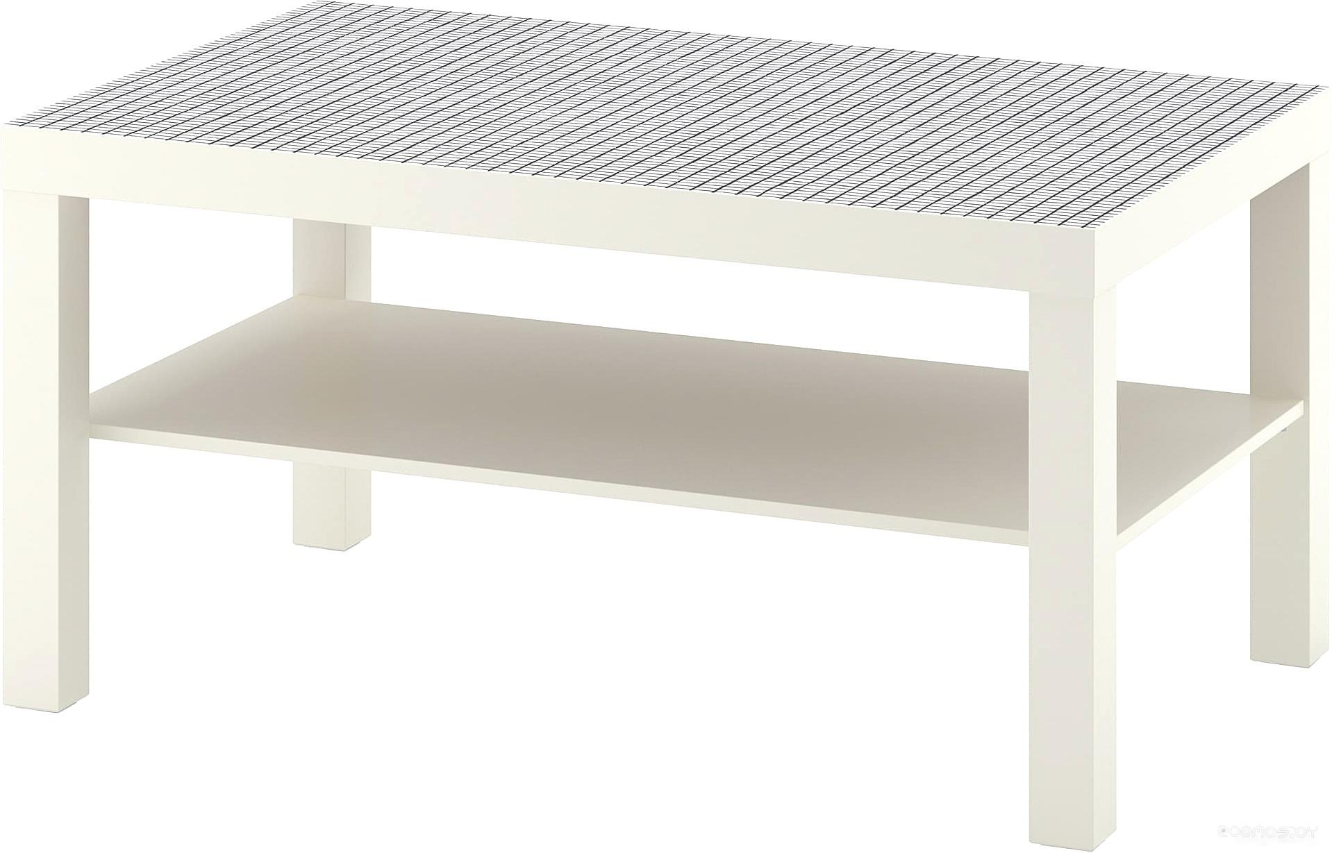 Журнальный столик Ikea Лакк (белый/клетчатый орнамент) 304.271.19