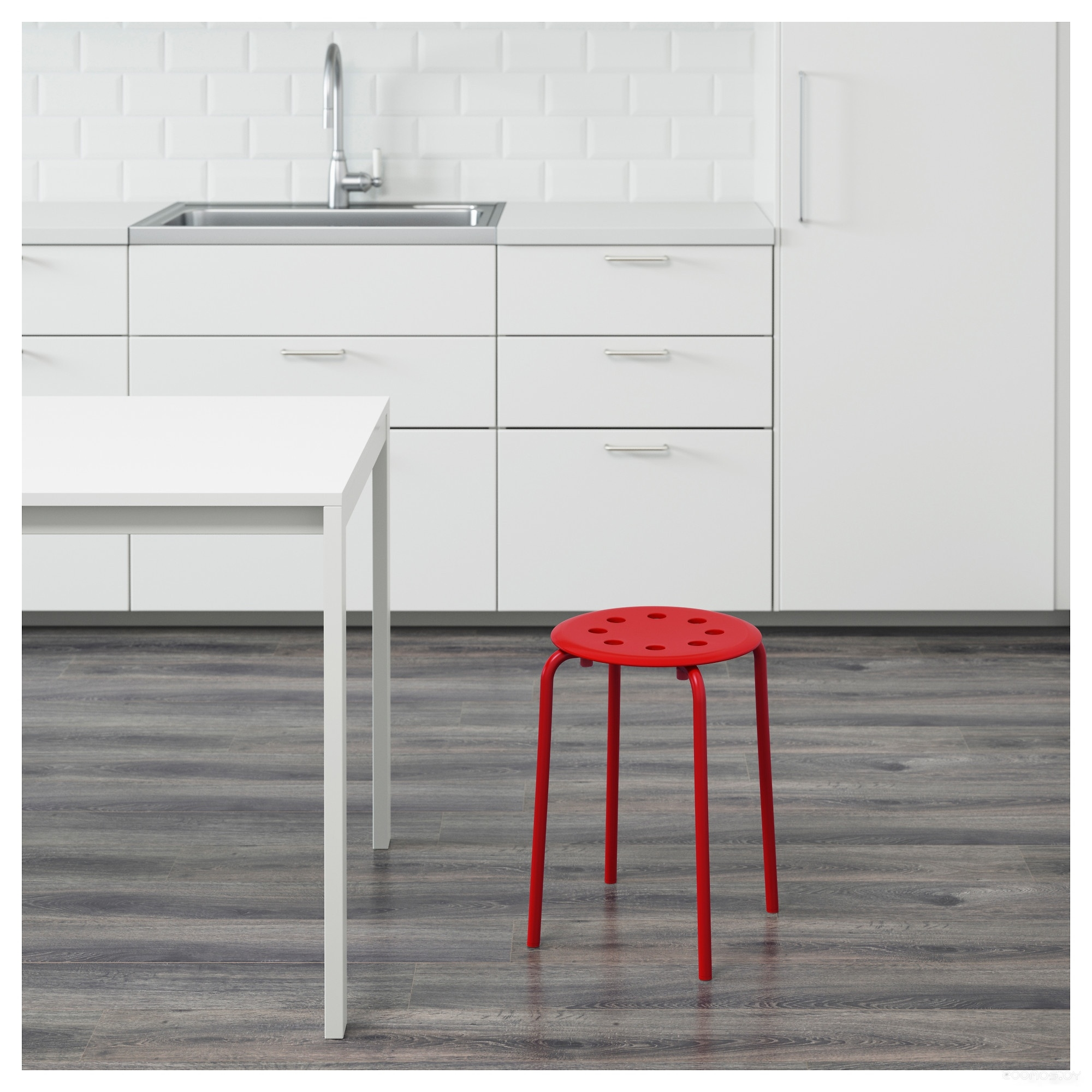 Табурет Ikea Мариус (красный) 803.609.27