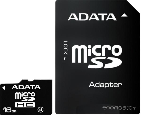 Карта памяти A-Data microSDHC Class 4 + SD adapter