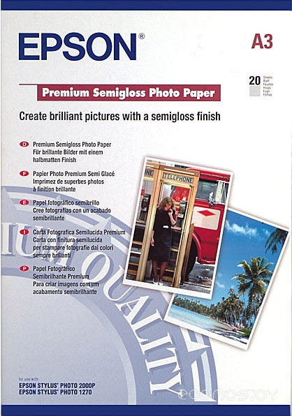 Фотобумага Epson Premium Semigloss Photo Paper A3 20 листов (C13S041334)