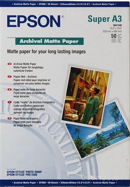 Фотобумага Epson Archival Matte Paper A3+ 50 листов (C13S041340)