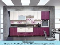 Кухня Интерлиния Metrio Д4.2 пластик (флора ваниль/флора слива)