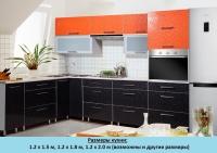 Кухня Интерлиния Metrio Д4.2 пластик (флора оранжевая/флора черная)