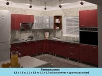 Кухня Интерлиния Metrio Д5.2 МДФ краска угловая (бордовый)