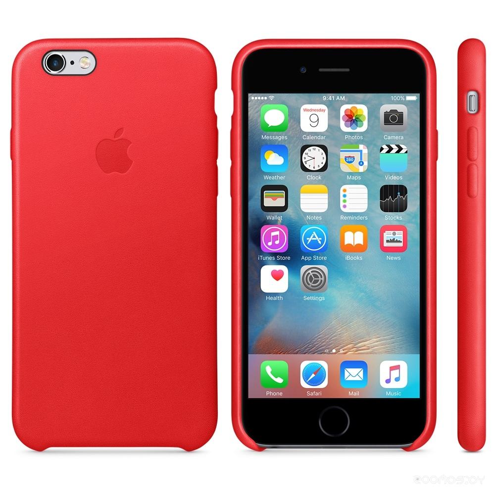 Чехол Apple Leather Case для iPhone 6s (Red)