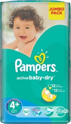 Pampers Active Baby-Dry 4+ MaxiPlus (62 шт)