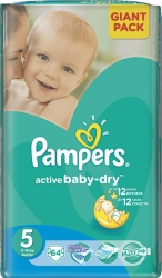Pampers Active Baby-Dry 5 Junior (64 шт)